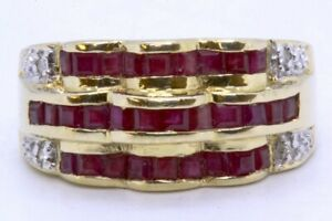 Clyde Duneier 14K Solid Yellow Gold Princess Ruby & Diamond Channel Dome Ring