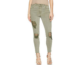 Level 99 Janie High Rise Skinny Jeans Distressed Moss Green Wash Size 29 NWT