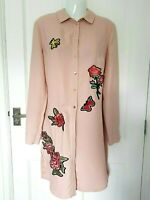 River Island Long Shirt Blouse Pink Blush Embroidered Floral Rose Oversized 10