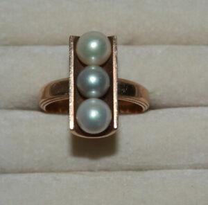Gelbgold Ring 750er Gold * Damenring mit drei Zuchtperlen * 10,85 Gramm