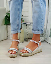 68148f4056 New Womens Platform Sandals Studs Ankle Strap Wedges Espadrille Summer Shoes