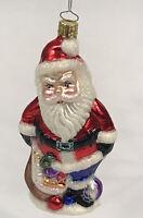 "Vintage Glass Christmas Ornament Santa Hand Blown Sack of Toys 6"" Christborn"