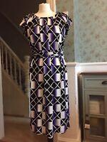 Marc Cain geometric print silk mix dress size N3 UK 12-14 women's designer