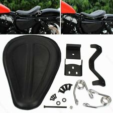 Black Leather Solo Seat Brackets Spring for Harley Sportster XL1200 883 48 72 OB