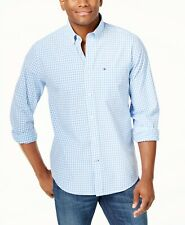 NEW Tommy Hilfiger Men's Gingham Check Button Down Shirt Blue Size Large