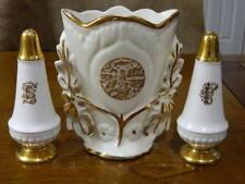 North Carolina Gold Trimmed Flower Vase w/ Salt & Pepper Shaker Antique