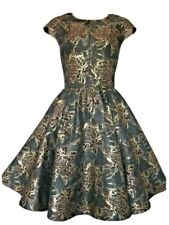 TED BAKER Laurey Grey Gold Burgundy Floral Metallic Skater Dress Size 2 Uk 10