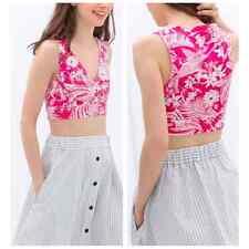 *NEW* Zara Pink White Floral Print Sleeveless Crop Top. Medium NWT