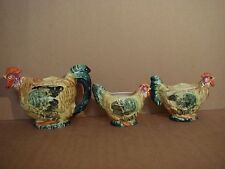 THE HINODE - ROOSTERS - TEA POT, MILK POT/CREAMER, SUGAR BOWL - VINTAGE - JAPAN