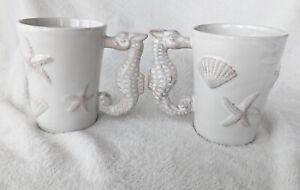 """Pier 1 Seahorse Coffee Mug Pair White 5"""" Seahorse Handle Starfish Sea Shells (B)"""