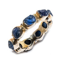 Blue Sapphire Rough Natural Gemstone 925 Sterling Silver Ring Size 8 SR-764