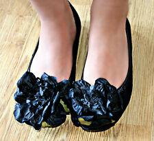 scarpe donna BALLERINE nere con fiori  COMODE boho style chic Gipsy moda vintage