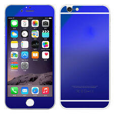 Blue Front & Back Mirror Effect Tempered Glass Screen Protector for iphone 6plus