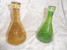 23809 2 Essig und Öl Flaschen mundgebl 18cm vinegar and oil bernstein grün green
