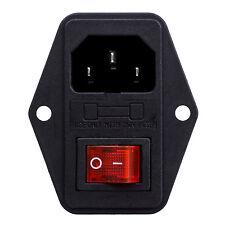 3 pin IEC320 C14 Inlet modulo Plug Fuse Interruttore maschio Presa 10A 250V HK