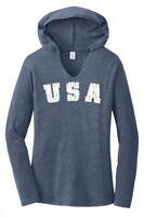 Distressed USA Ladies Hoodie T-Shirt Patriotic American July 4th Tee