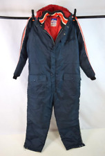 Vintage 70s Montgomary Ward Blue Striped Insulated SnowMobile Snowsuit Bibs 2Xl