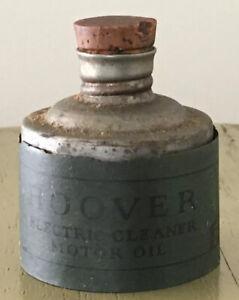 Antique HOOVER motor oil vacuum metal bottle cork stopper paper label