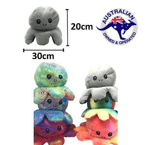 30cm Jumbo Octopus Mood Reversible Double Sided Plush Soft Toy AU STOCK