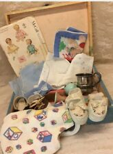 Vintage Suitcase With Baby Items For A Doll