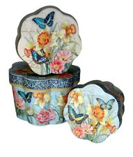 Set of 3 Punch Studio Fluted Round Nesting Boxes Blue Butterflies box 99265