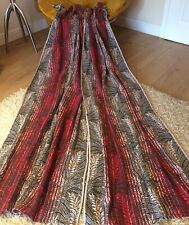 """Vtg Retro Red/White Ombre Linen Wool Extra Long Hooped Pair Of Curtains W33""""L80"""""""