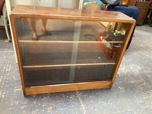 Vintage Mid Century Brown Wooden Display Cabinet Cupboard Glass Sliding Doors