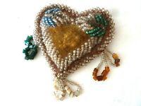 Vintage Beaded Whimsey Beadwork-Heart Shaped-Needs Repair