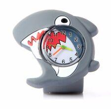Quality Grey Shark Fish Wristwatch Boys Girls Kids Wrist Watch Easy Slap Strap