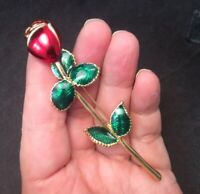Pretty Vintage Enamel Red Rose Bud And Green Leaves Pin Brooch Gold Tone