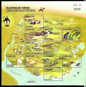 URUGUAY 2020 RURAL TOURISM MAP,BIRDS,FISHING SPORTS VINES,CHEESE MINISHEET MNH