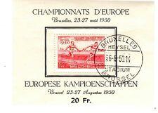BELGIQUE - Bloc 1er Jour - Championnats d'Europe d'Athlétisme Bruxelles 1950