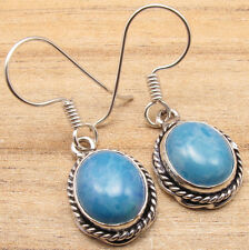 925 Silver Overlay Low Price Simulated LARIMAR VINTAGE STYLE Earrings SHOPPING
