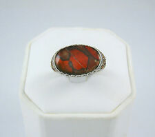 HSN Evine Designer Signed Sterling Silver Butterfly Wings Foil Glass Ring Sz 8