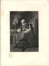 Stampa antica ELI e SAMUEL Bibbia John Singleton Copley 1857 Old antique print