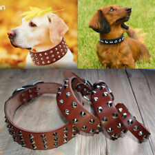 Genuine Leather Studded Dog Collars Heavy Duty for Small Medium Large Dogs S-XL