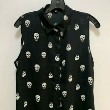 Skull Top Blouse Shirt Sz Small Womens Sleeveless, Halloween, Death Black
