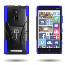 For Nokia Lumia 830 Case Hard Silicone Hybrid Kickstand Armor Cover Blue + Black