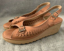 Vintage Cherokee Of California Size 7 Platform Leather Sandals 1970/80s Euc