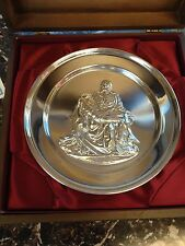 Danbury Mint Pieta by Michelangelo Solid Sterling Silver Plate in original case