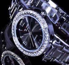 Jay Baxter Uhr Damenuhr Armbanduhr Glanz Anthrazit Silber Farben Strass