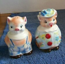 Enesco Pomeroy in Overalls & Prunella with Flower Hat Pigs Salt & Pepper Shakers