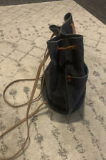 Madewell Blue Canvas And Leather Bucket Bag Backpack