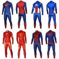 Superman Spiderman Cycling Jersey Long Sleeve Bib Pants MTB Bike Clothes Set