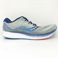 Saucony Mens Ride ISO 2 S20515-1 Grey Blue Running Shoes Lace Up Size 12.5 W
