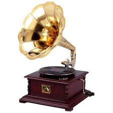 Grammofono con tromba HIS MASTER'S VOICE in legno e ottone QUADRATO