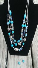 Avon 3-Stranded Necklace Silver-tone Blues Turquoise beaded with matching  earri