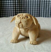 Hand Carved Wooden Dog Bulldog, Chubby Stout Puppy Figurine Handmade Sculpture