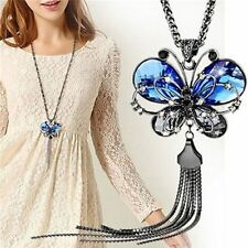 Jewelry Long Tassel Butterfly Pendant Sweater Chain Necklace Blue Crystal