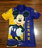 NCAA LSU Tigers Disney Mickey Mouse All Over Print Polo Shirt SMALL.